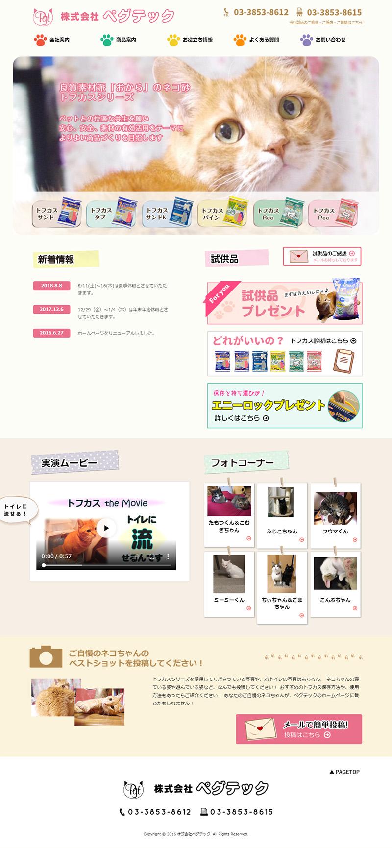 ホームページ制作実績株式会社ペグテック様 - 会社HP