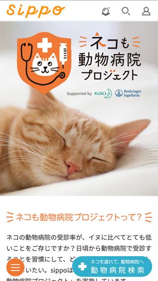 ホームページ制作実績Sippo 猫も動物病院プロジェクト